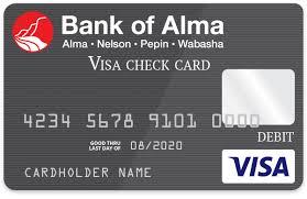 debit card bank of alma bank atm card bank of alma debit card