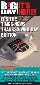 get a thanksgiving day paper and all those ads and deals today