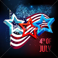 Waving American Flag Glossy 3d Stars On Waving American Flag Fireworks Decorated