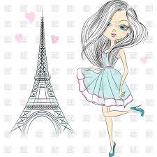 Beautiful Eiffel Tower by Beautiful Woman In Dress Near Of Eiffel Tower Vector Image 43977