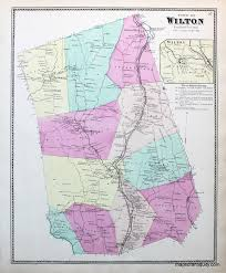 Map Of Ct Towns Town Of Wilton Ct Antique Maps And Charts U2013 Original Vintage
