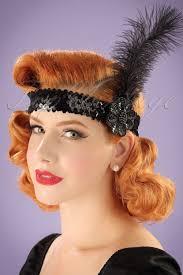 feather headband 20s sequins feather headband in black