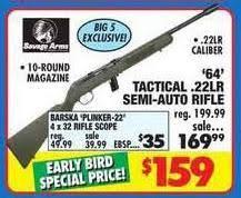 big 5 sporting goods black friday savage 64 22lr semi auto rifle u0026 barska plinker 22 4x32mm rifle