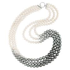 jewelry making necklace clasp images Triple strand tahitian and cultured pearl ombr necklace with jpg