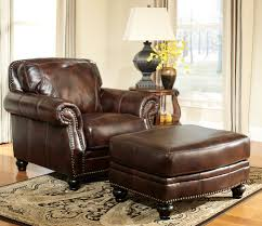 Oversized Chairs Living Room Furniture Classic Living Room Area With Brown Leather Square Oversized Chair