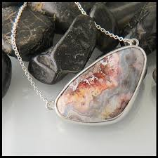 silver agate necklace images Simple crazy lace agate pendant in sterling silver walker jpg