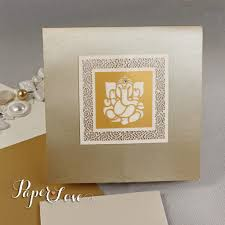 Wedding Invitation Hindu Ganesh Purple Ganesha Palm Facing Forward Luxury Indian Hindu Asian Wedding