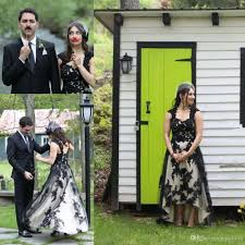 discount vintage black and white country cowbol wedding dresses