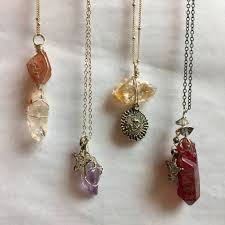 crystal necklace making images Wire wrapped crystal necklaces w sun moon star charms jpg