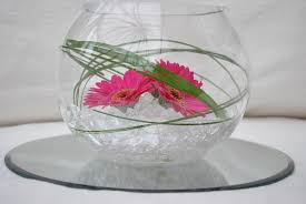 fish bowl centerpieces s flower studio gerbera fish bowl
