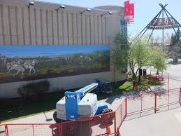 mural restoration project on stampede park blog rocky barstead painted the original mural in 1998 to commemorate the 75th anniversary of the original chuckwagon race in 1923