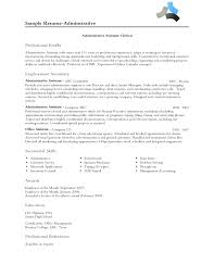 Free Sample Resume For Administrative Assistant by Enchanting Sample Professional Profile About Yourself With Sample