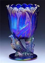 Antique Cobalt Blue Vases Fenton Art Glass Rare Antique Art Deco Fenton Cobalt Blue