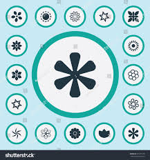 vector illustration set simple blossom icons stock vector