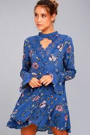 lovely royal blue dress floral print dress lace dress