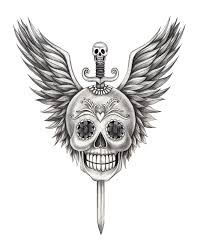 art skull wings sword tattoo stock illustration image 62328369