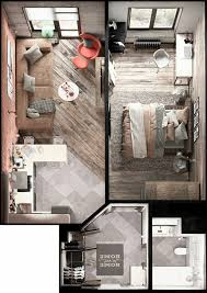 Studio Apartment Floor Plans Apartamento Moderno Com 1 Quarto Smart Home Pinterest Tiny