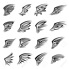 black tribal designs with isolated wings also may bu