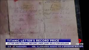 titanic u0027s last letter sells for record price