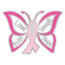 faith strength butterfly design breast cancer awareness