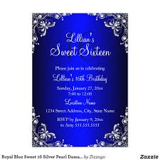 royal blue sweet 16 silver pearl damask card blue sweets silver