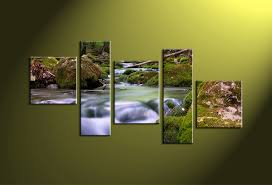 5 piece scenery green nature canvas art prints