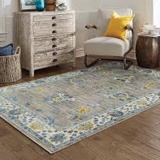 Gray And Yellow Rugs Distressed Traditional Grey Yellow Area Rug 5 U0027 3 X 7 U0027 6 Free