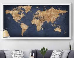 Decorative World Map Abstract World Map Etsy