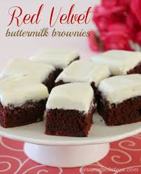 caramel potatoes red velvet buttermilk brownies with cream