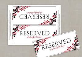 Wedding Signs Template Printable Reserved Sign Tent Exquisite Vines Black U0026 Red