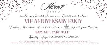 Salon Invitation Card Vip Anniversary Party Mona Esthetics