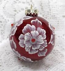 red mud ornament with roses and rhinestones glass ornaments the