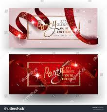 Invitation Cards Design With Ribbons Elegant Party Invitation Cards Ribbons Pattern Stock Vector