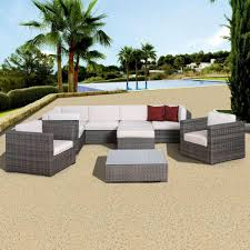 Grey Wicker Patio Furniture by Atlantic Contemporary Lifestyle Southampton Grey 9 Piece All