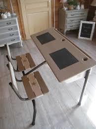 bureau écolier relooké pupitre 2 places en bois et fer personnalisé vendu photo de déjà