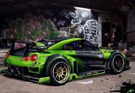 nissan gtr wide body nissan gt r green widebody extreme modified cars pinterest