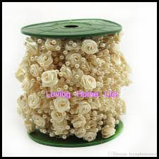 30 meter ivory roses pearl garland bead wedding decoration table