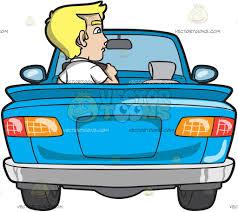 cartoon convertible car a young blonde man driving a convertible blue car cartoon clipart
