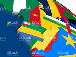 Gabon Africa Map by Cameroon Gabon And Congo On 3d Map With Flags Stock Photo