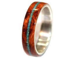 wooden rings wedding images Amboyna burl and crushed turquoise wooden ring wooden rings jpg