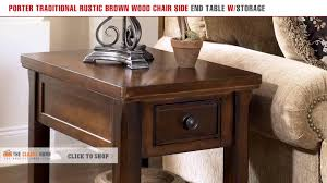 Chair Side End Table Porter Traditional Rustic Brown Wood Chair Side End Table With