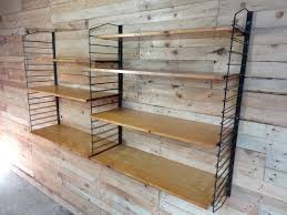 industrial metal and light wooden shelving unit 1955 for sale at