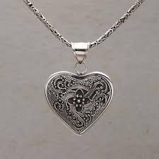 heart shaped necklace images Sterling silver heart shaped necklace from bali complex heart jpg