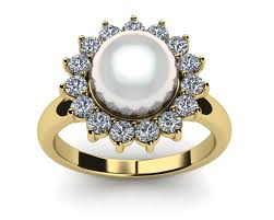 pearl engagement rings yellow gold cultured pearl rings
