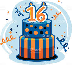 sweet sixteen birthday cake stock vector art 110872717 istock