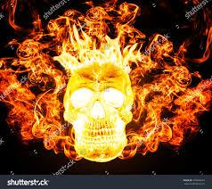 horror halloween background satanic skull on fire hell background stock illustration 393043624