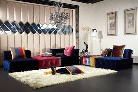 foxy design ideas using l shaped blue suede sofas and rectangular