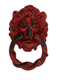 bulk wholesale handmade lion head door knocker in red color with