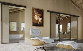 commercial glass sliding doors decorating small living room that has glass sliding doors