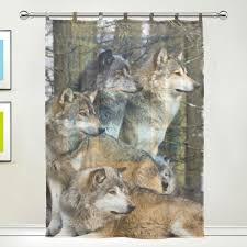 amazon com jstel wolf pattern floral print tulle voile door